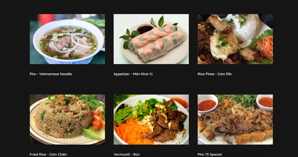 Pho 75 menu