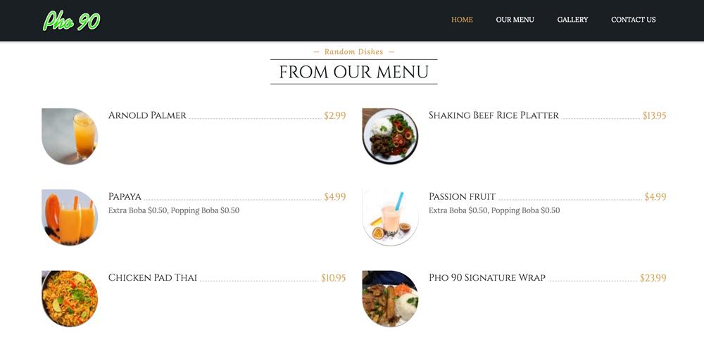 Pho 90 menu