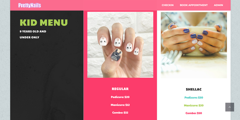 Pretty nails menu