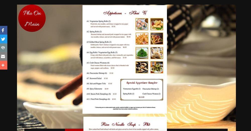 pho on menu