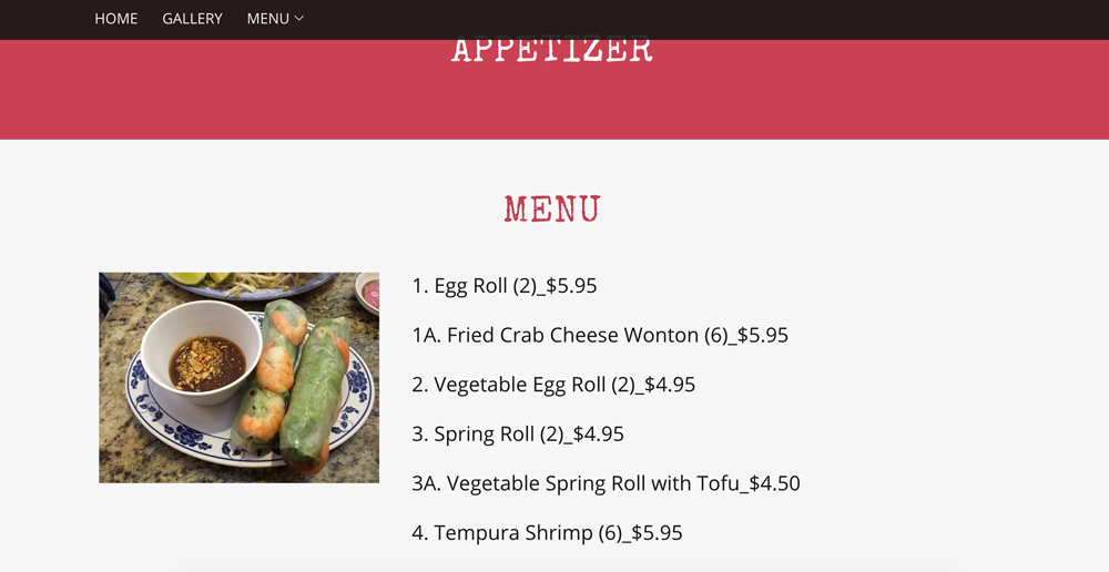 Top pho menu